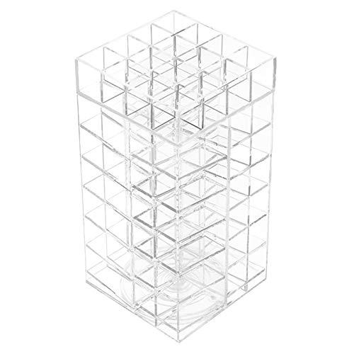 Display4top Acryl Lip Gloss Makeup Organizer, Acryl 360-Grad-Drehung 64 Lippenstift Tower Organizer mit abnehmbaren Trennwänden (64 Lippenstift)