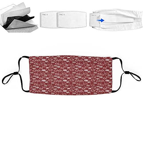 Bandanas reutilizables lavables para hombre y mujer, con impresión 3D, transpirable, con 2 filtros, 1 unidad, espirales cuadrados entre vertical