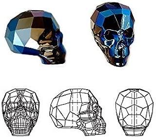 Swarovski Crystal Beads Skull 5750 Metallic Blue 2X 14x13x10mm
