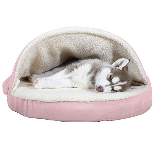 Furhaven Pet Dog Bed – Orthopedic Round Cuddle Nest Faux Sheepskin Snuggery Blanket Burrow Pet Bed with Removable Cover for Dogs and Cats, Pink, 26-Inch