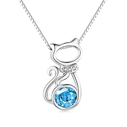 925 Sterling Silber Katze Halskette mit Aquamarin Kristall, AOBOCO Niedlichen Anhänger Schmuck Geschenke für Damen Mädchen (Blau)