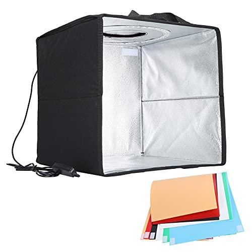 Caja para sesión de fotos - Caja de tienda de campaña para sesión fotográfica portátil y plegable con 6 colores de fondo con luces LED