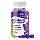 Octo Nutrition Elderberry 60 Vegan Gummies with Vitamin C & Zinc | Immune System Support & Booster | Made with Plant-Based Pectin | No Gelatin - Gluten & Soy & Lactose Free | Natural Ingredients