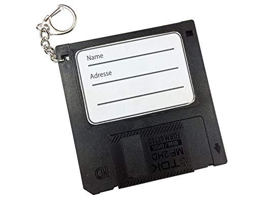 Miniblings Adressanhänger Taschenanhänger Kofferanhänger Diskette Retro Disc Floppy SCHWARZ - Handmade Modeschmuck I I Anhänger Schlüsselring Schlüsselband Keyring