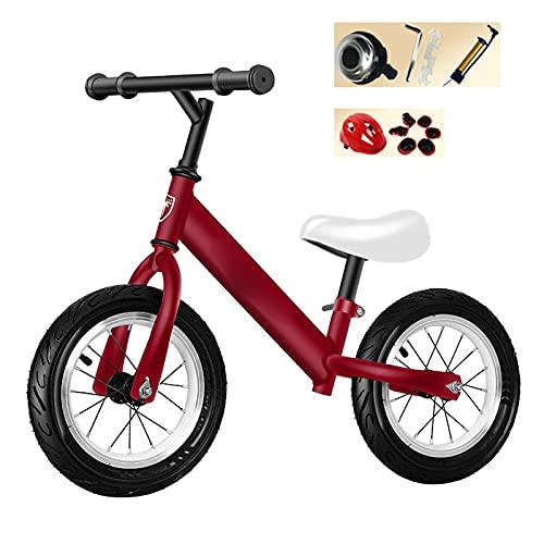 HLEZ Bicicleta Sin Pedales para Niños con Manillar Ergonómico Y Sillín Ajustable Rueda De 12' Correpasillos para Equilibrio para Niños De 2 A 6 Años,Rojo
