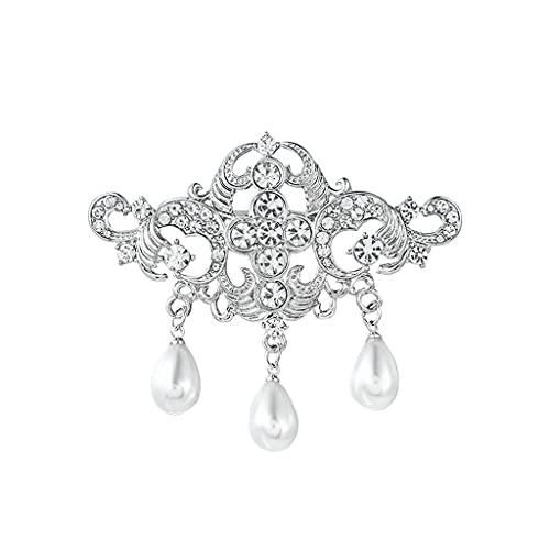 DAGONGREN Rhinestones claros Pave Vintage Style Broches con perlas simuladas caídas