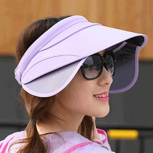 SJYDQ Mujeres Chic Sol DE PROTECCIÓN DE Sol Antiguo VACÍO VACÍO VACÍO Top Tapa de Sol con Sombrero de Playa de Visera retráctil (Color : A)