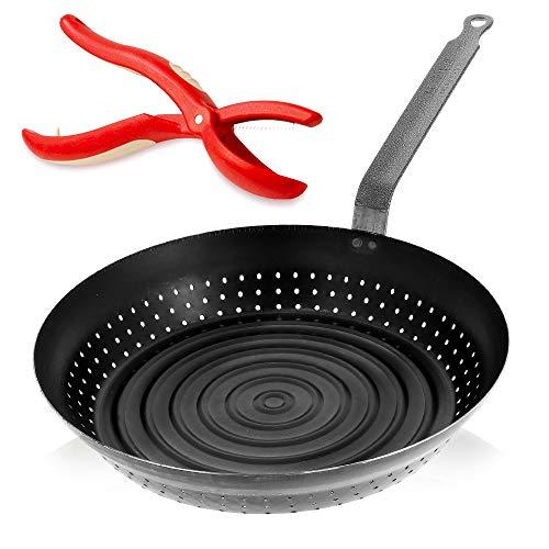 De Buyer La Lyonnaise Poêle en fer à maron, poêle à noix, barbecue 28 cm + coupe-marrons Kelomat