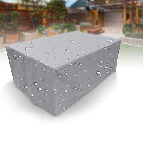 APOE Patio Cover Garden Furniture Table Chairs Protective Cover Rectangular Furniture Set Cover Waterproof Windproof UV-Resistant for Outdoor, Silver 230×165×80cm