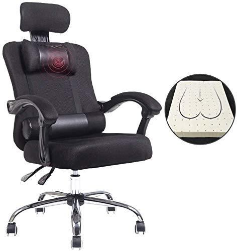 Silla giratoria ejecutiva, rotación de 360 ° silla reclinable, silla ergonómica, silla de oficina para el hogar, simple perezoso, con reposacabezas y soporte lumbar (color: negro)