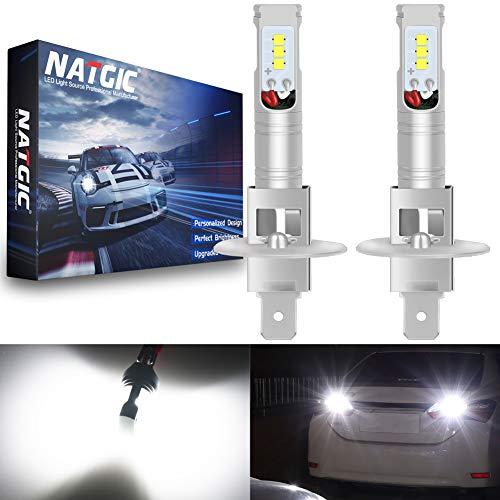 NATGIC H1 Ampoules LED antibrouillard blanches Xenon 1700LM CSP pour projecteur antibrouillard, 12V-24V (paquet de 2)