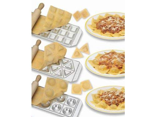 Imperia Ravioli Maker Set of 3 Italian Made Molds- Mini Squares, Tortelli, and Raviolini with Rolling Pin