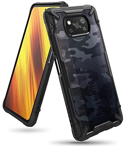 Ringke Fusion-X DDP Kompatibel mit Xiaomi Poco X3 NFC Hülle, Poco X3 Pro Hülle, Handschlaufe Loch mit Fingerabdruckfest 3D Militär Muster - Camo Black Schwarz