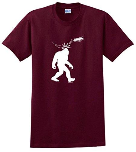 Disc Golf Frisbee Sasquatch T-Shirt Large Maroon