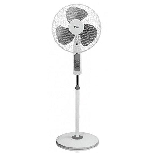 Stand ventilatore 16' - Potenza 45W - 3 Velocità - Altezza regolabile - Colore Grigio - base circolare molto stabile