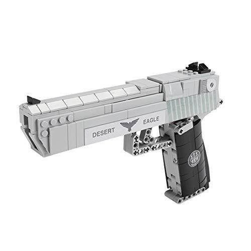 Seasy Juego de construcción de rifle técnico, 528 piezas, modelo de pistola desert Eagle con función de disparo, compatible con Lego