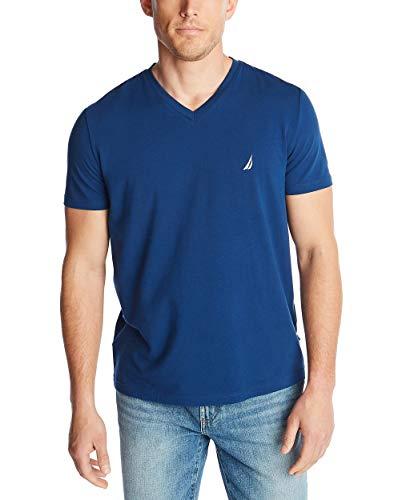 Nautica Men's Short Sleeve Solid Slim Fit V-Neck T-Shirt, Royal Blue, X-Large