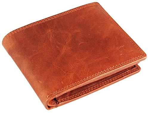 Pierrini PR0012 Herren Portemonnaie Echtleder mit Ausweismappe in Braun 3x10x12 Zentimeter