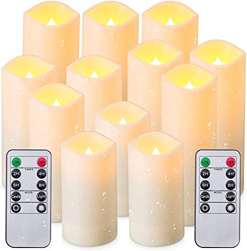 Flameless Candles, Led Candles Set of 12(H 4' 5' 6' 7' x D 2.2') Outdoor Indoor Candles with Remote Timer (Made of Plastic)
