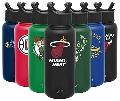 Simple Modern NBA Miami Heat 32oz Water Bottle with Straw Lid Insulated Stainless Steel Summit