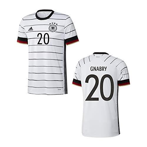 adidas DFB Deutschland Trikot Home EM 2020 inkl. Original Flock (Gnabry + 20, S)