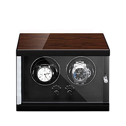 Enrollador de reloj para 2 relojes automáticos 5 configuraciones diferentes Carcasa de madera Acabado de piano Motor silencioso Almohada flexible para reloj Adecuado para muñecas de hombres y mujeres