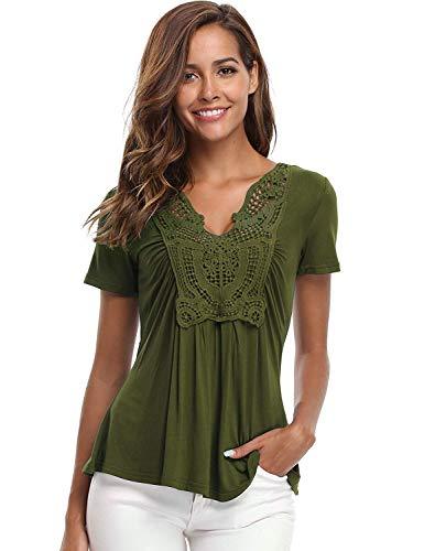 MISS MOLY Blusas y para Mujeres Camisas clásicas con Cuello en V con Pliegues acanaladas Llanura Delantera Verde Militar - M