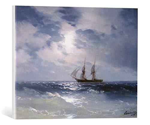 kunst für alle Leinwandbild: IWAN Konstantinowitsch Aiwasowski Segelschiff auf ruhiger See bei Mondlicht - hochwertiger Druck, Leinwand auf Keilrahmen, Bild fertig zum Aufhängen, 55x40 cm