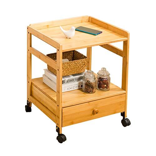 Tables basses Chariot à thé Meuble en Bois Mobile côté canapé Coin Coin Petite Roue lit Table Chariot à thé (Color : Brown, Size : 46.5 * 38 * 57cm)
