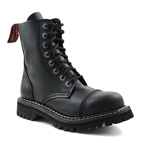 ANGRY ITCH - 8-Loch Gothic Punk Army Ranger Armee Schwarze Leder Stiefel mit Stahlkappe 36-48 - Made in EU!, EU-Größe:EU-43