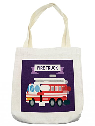 Lunarable Fire Truck Tote Bag, Fast Emergency Service Fire Extinguisher Department Unit Protection Transport, Cloth Linen Reusable Bag for Shopping Books Beach and More, 16.5