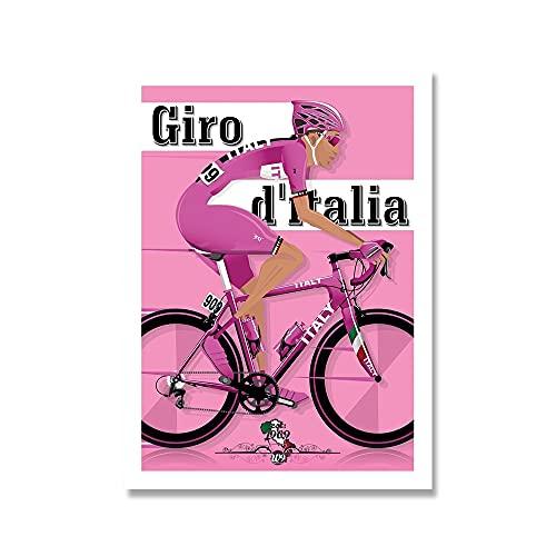 YINGFUN Deportes Bicicleta Ciclismo Lienzo Pintura Vintage Tour Paisaje Francia Gran Bretaña Ciclista Cartel de la Pared Imprimir imágenes Decoración del hogar (Color : A, Size : 50x70cm No Frame)