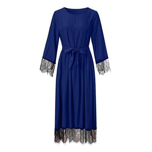 Lazzboy Damen Abaya Dubai Kaftan Marokkanisches Moslemkleid Türkisch Kimono Spitze Jilbab Maxi Lose Robe Casual Abendkleid Kleid Maxikleid Lange ärmel Muslime Strickjacke(Blau,2XL)