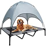 WANTRYAPET Elevated Dog Bed with Canopy, Portable Raised Pet Cot, Sturdy Breathable Textilene Mesh, No-Slip Feet, Dog Bed for Indoor and Outdoor Use, Extra Large - Grey