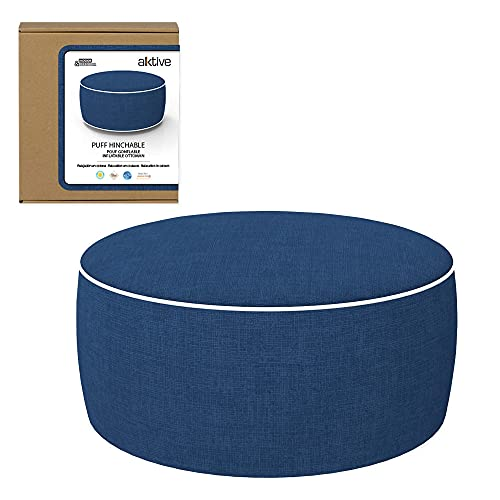 Aktive 79041 - Puff hinchable, Puff exterior, Reposapiés hinchable, Ø53x23 cm, color azul tejano, Tejido impermeable, soporta 100 kg, mobiliario jardín exterior, Aktive