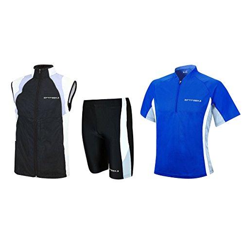 Airtracks FUNKTIONS-LAUFSET - Tight-KURZ + T-Shirt Kurzarm + LAUFWESTE - blau-schwarz - S