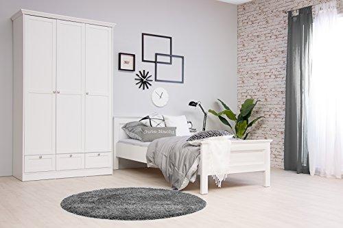 moebel-dich-auf Stockholm Mädchenzimmer Jugendzimmer Schlafzimmer komplett Set im Landhaus Stil in weiß mit Bett 90x200, 1 Nachttisch und Kleiderschrank 120 x 200 x 51 cm in weiß