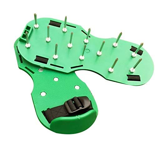Picos de césped Zapatos de aireador de césped Uñas de jardín Herramientas de jardín Zapatos de Suelo Suelto Desgarrador Portátil Durable Conveniente (Verde)