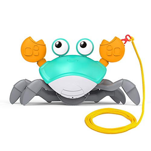 Baby Bath Toys for Toddler 1-3 Years Old, Wind Up Swimming Walking Crab Pulling Toys Birthday Gifts for 2 3 4 5 Years Boys Girls, Cute Cartoon Crab Toy with 29.5in Cord to Pull and Play