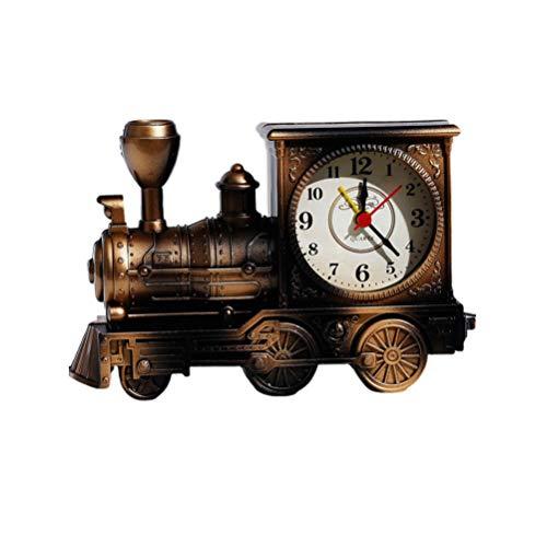 TOYANDONA Wecker Eisenbahn Motor Form Ornamente Retro Tischuhr Dekoration für Geschäft Schlafzimmer Wohnzimmer Ornament (schwarz), YM1671533FLY2, Coffee, 12 * 18cm
