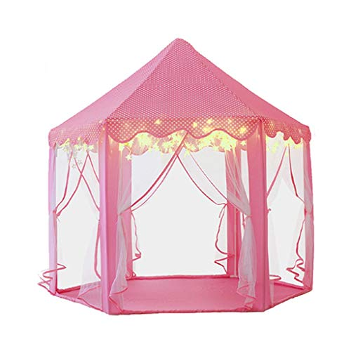 Tents Hexagonal Play for Baby's Growth, Puzzle Play Teepee Indian Play with Gauze Curtains, Toy Gift for Boys and Girls (Color : Pink, Size : 140 * 135CM)