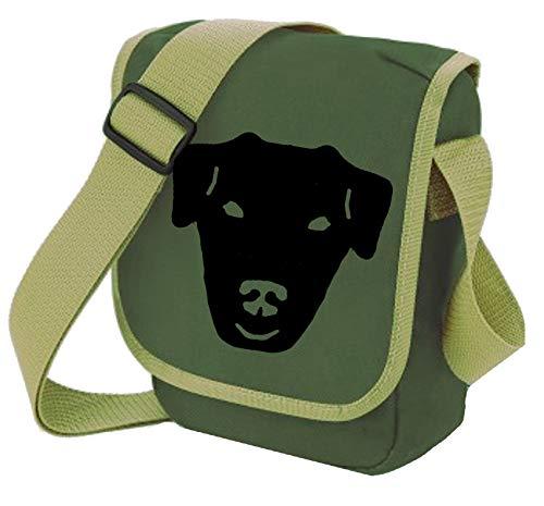 Bag Pixie , Damen Schultertasche Grün Glattes Pflaster schwarz auf oliv