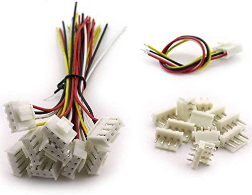 Magic&shell 10 Sets 3.96mm VH Plug Cable Single Head 4Pin Terminal Wire Medical Devices Wire LED Display Mainboard Electric Wire 150mm + Straight 4P Male Header Connector