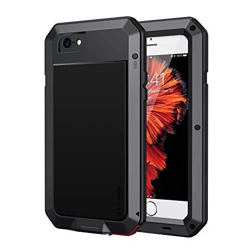 Focusor für iPhone 6 Hülle, 360 Grad Outdoor Schutzhülle Stoßfest Tough Armor Metall Ganzkörper Panzerhülle mit Eingebautem Displayschutz Staubdicht Heavy Duty Case für iPhone 6S, Schwarz