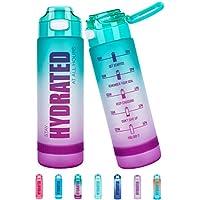 Fidus 32oz Motivational Water Bottle with Time Marker & Chug Lid ( F1-Green/Purple Gradient)