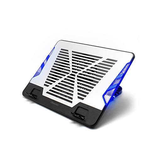 Fesjoy Soporte ajustable para ordenador portátil, placa de aluminio de disipación de calor con luz azul (plata)