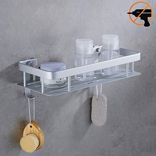 ADOVEL Duschregal Ohne Bohren, Bad Duschablage Duschkorb für Shampoo, Aluminium Eckablage Dusche Organizer, Klebstoffinstallation kein Rost