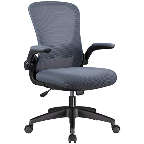 Office Chair Mesh Desk Chair with Lumbar Support High Back Swivel Computer Chair Ergonomic Executive Chair with Flip-up Armrest,Grey