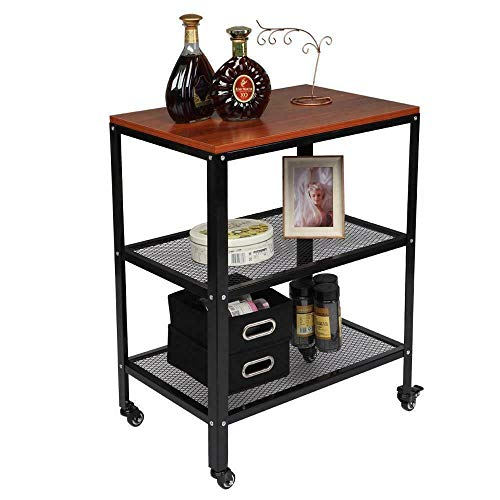 Home & More 3 Tier Space Saver Kitchen Microwave Oven Stand Rack Baker Shelf Storage Cart Counter Accent Portable