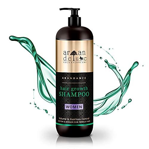 Argan Deluxe Haarwachstums-Shampoo in Friseur-Qualität 1000 ml - effektive Hilfe gegen Haarausfall - für kräftiges Haar & mehr Volumen - für Frauen
